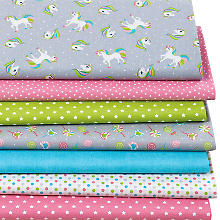 Lot de 7 coupons de tissu patchwork 'licorne', rose/gris