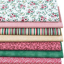 Lot de 7 coupons de tissu patchwork 'British', rose multicolore