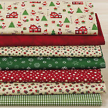 Lot de 7 coupons de tissu patchwork 'village hivernal', beige/rouge