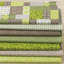 Lot de 7 coupons de tissu patchwork 'nature verte', vert/marron