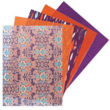 Set de papier décopatch, orange/violet, 40 x 30 cm, 5 feuilles