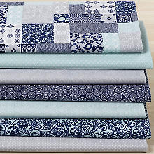 Lot de 7 coupons de tissu patchwork 'Aqua Flora', bleu multicolore