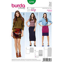 burda Patron 6598 'Jupe tube Young'