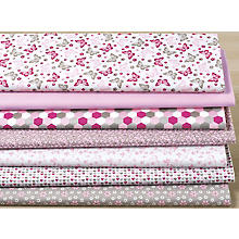 Lot de 7 coupons de tissu patchwork 'papillons', rose