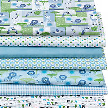 Lot de 7 coupons de tissu patchwork 'lion', bleu multicolore