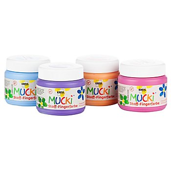 Mucki Stoff-Fingerfarbe, 4x 150 ml