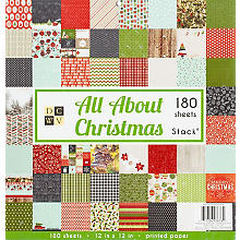 Bloc de papier 'All about Christmas', 30,5 x 30,5 cm, 180 feuilles