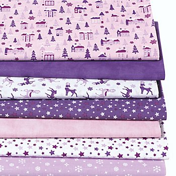 Lot de 7 coupons de tissu patchwork 'Noël', rose/violet