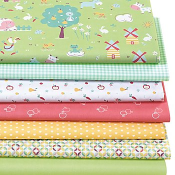 Lot de 7 coupons de tissu patchwork 'ferme', vert multicolore