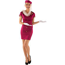 Stewardess Kostüm, fuchsia/gold