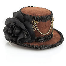 Mini-chapeau 'Steampunk', marron/noir