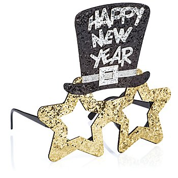 Lunettes 'Happy New Year', or/noir/argent