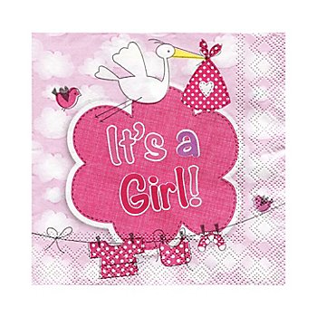 Papierserviette 'It's a Girl', 25 x 25 cm, 20 Stück