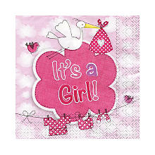 Serviettes 'It's a Girl', rose