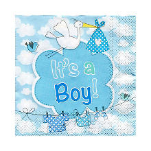 Serviettes 'It's a Boy', bleu