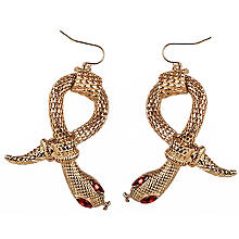 Boucles d'oreilles 'serpent', or/rouge